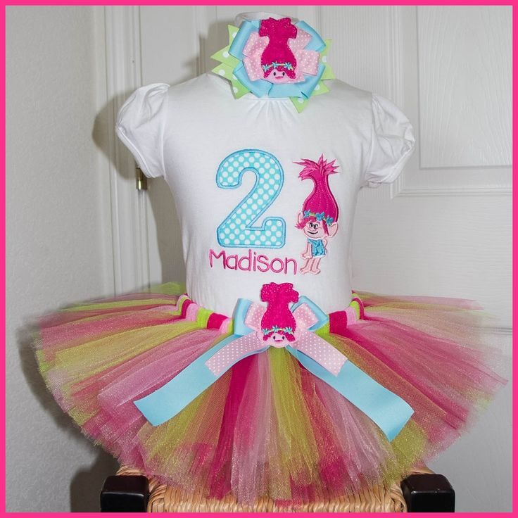 Poppy Troll Tutu Birthday Outfit Personalized With Name