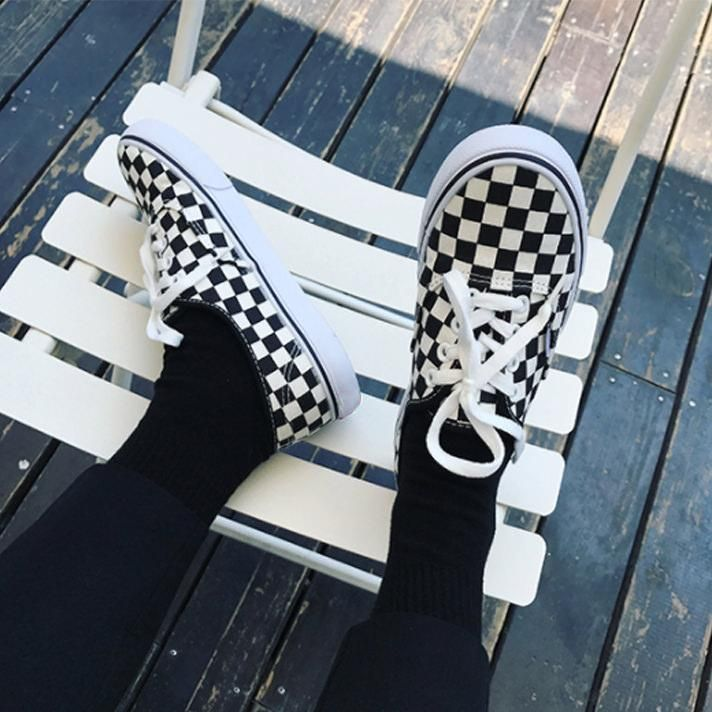 checker canva shoes tumblr 2017
