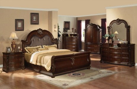 2350ac10310 - Damek Cherry Bonded Leather and Solid Wood Traditional Sleigh Bed - Inland Empire Furniture