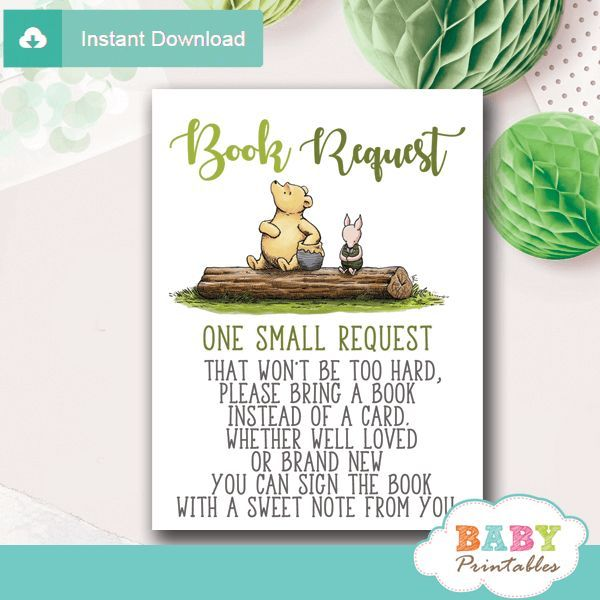 Gender Neutral Winnie The Pooh Book Request Cards D291 Baby Printables Baby Shower Decorations For Boys Baby Shower Gifts Baby Shower Vintage