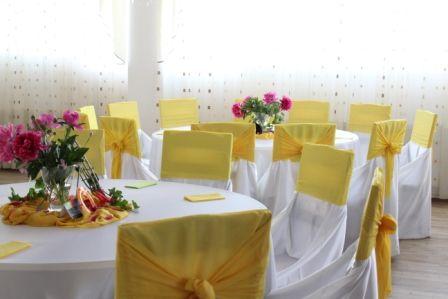 Decor sala nunta in galben si alb
