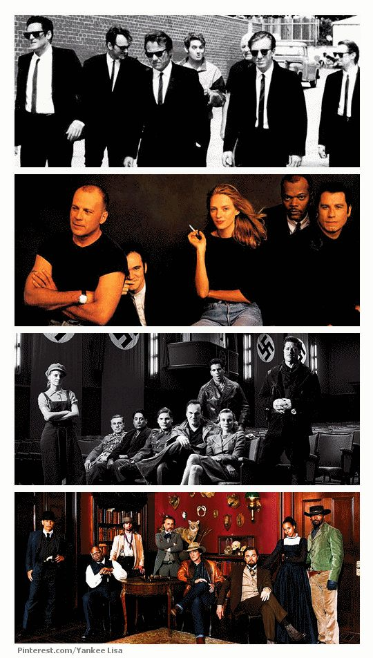 The casts from Quentin Tarantino's Reservoir Dogs, Pulp Fiction, Inglorious Basterds, and Django Unchained