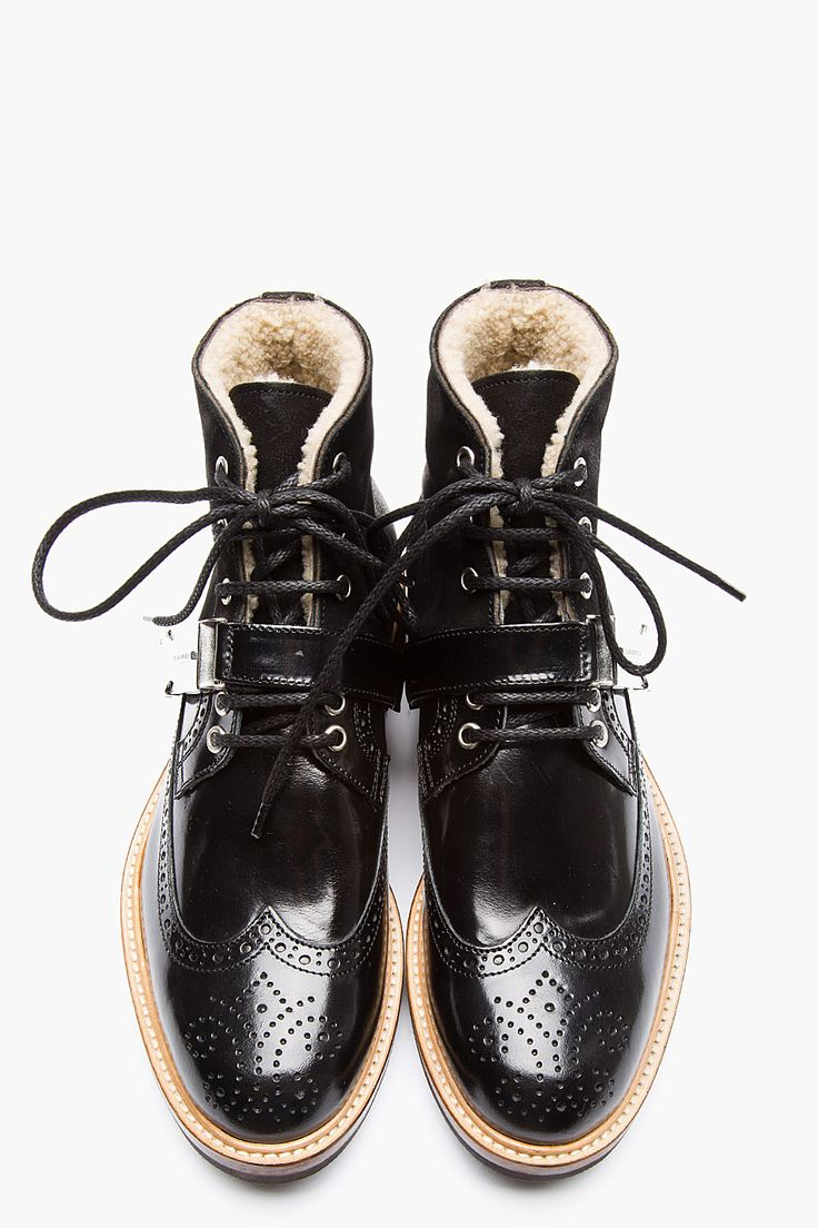 DSQUARED2 Black Shearling-Lined Brogue Boots