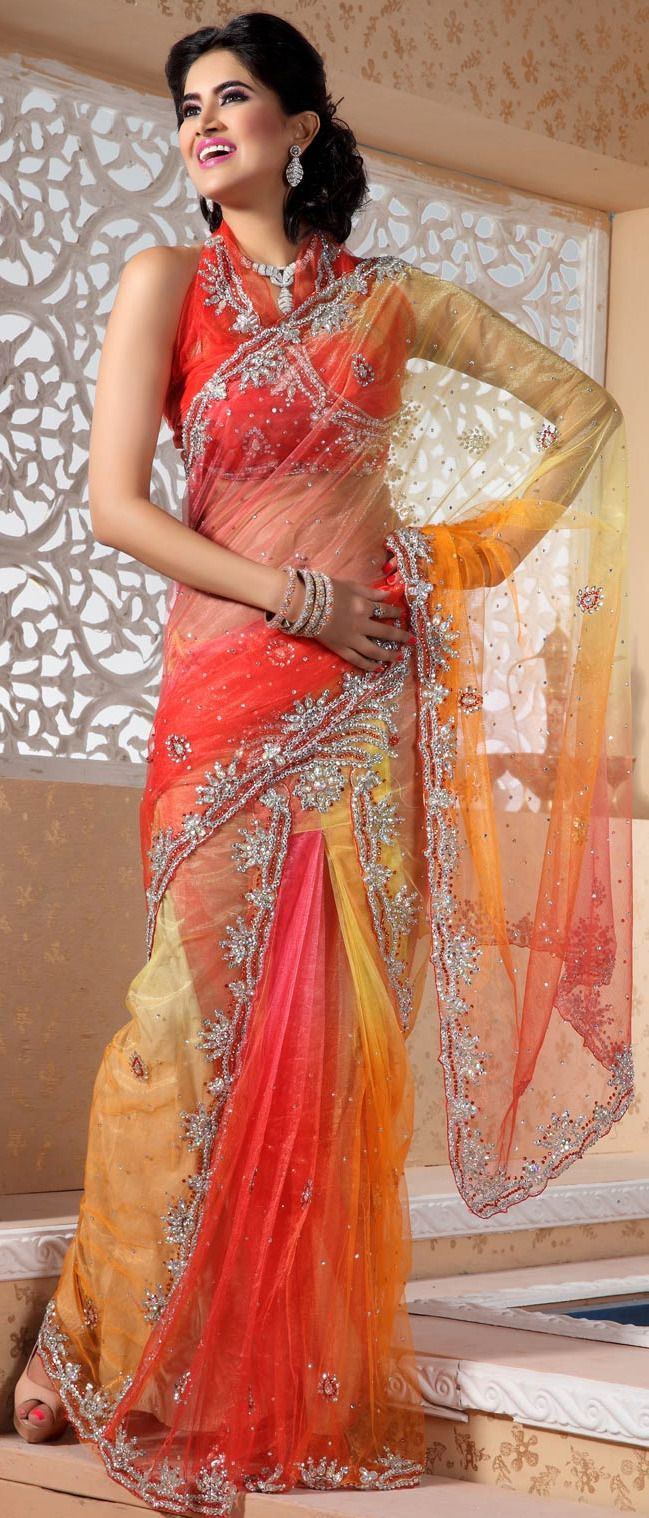 MultiColor Orange and Yellow Vibrant Net #Saree with Blouse @ $ 189.39