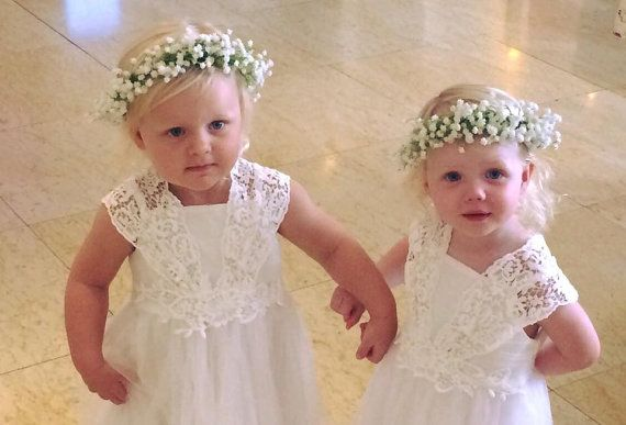 Artificial Baby Breath Flower Girl Crown - Made to measure