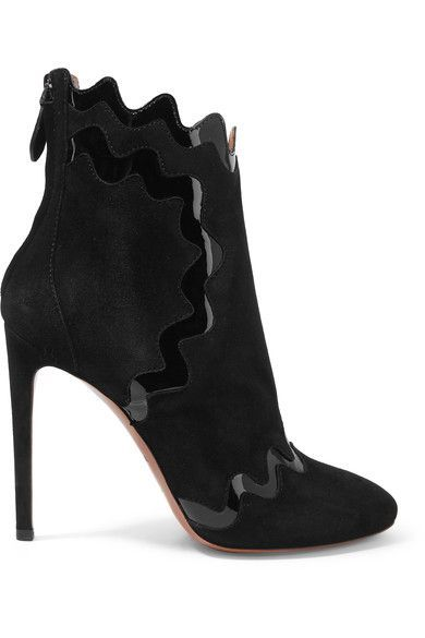 Alaïa - Patent Leather-trimmed Suede Ankle Boots - Black - IT