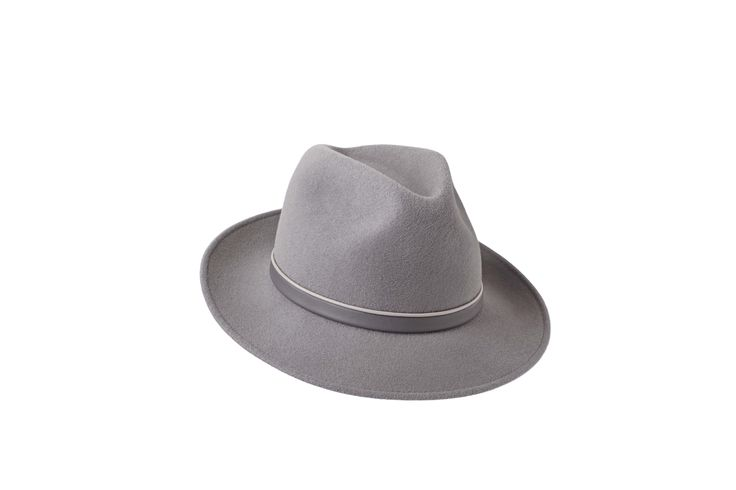 The Spring/Summer Collection | Amber Trilby | Dove Grey | Beige & Grey Leather Band www.penmayne.com #trilby #hats #accessories