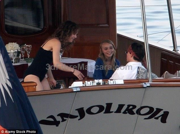In Depps day the vessel was named Vajoliroja - a pun on the Jolly Roger pirate flag when said aloud - after his ex-partner Vanessa Paradis and their children Lily-Rose (pictured aboard the boat in 2011) and Jack