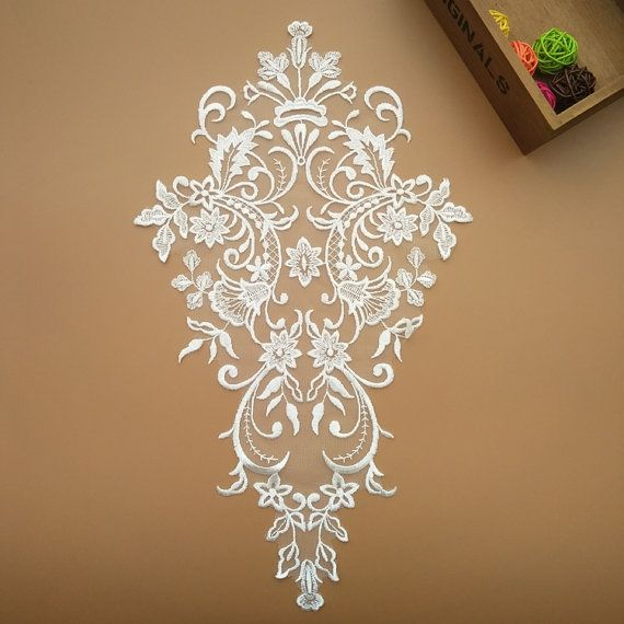 ivory lace Applique  Bridal lace applique embroidered by LaceFun