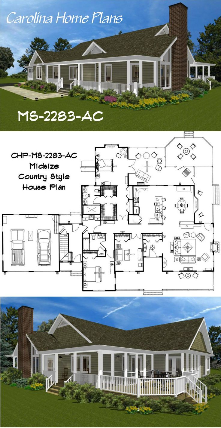 76 best house plans with porches images on pinterest screened this lovely midsize country house plan features a spacious master suite with easy access to a large screened porch