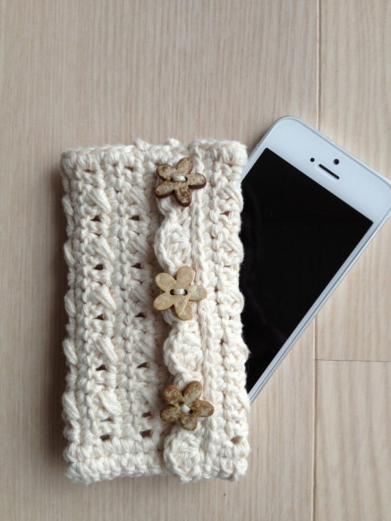 Crochet Iphone Case  Neutral Color  Wooden by LittleYellowFarm, $17.00