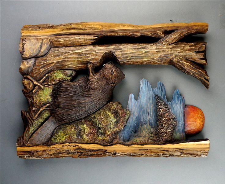 Castor sculpté sur bois Sculpture Castor Bois du par DavydovArt