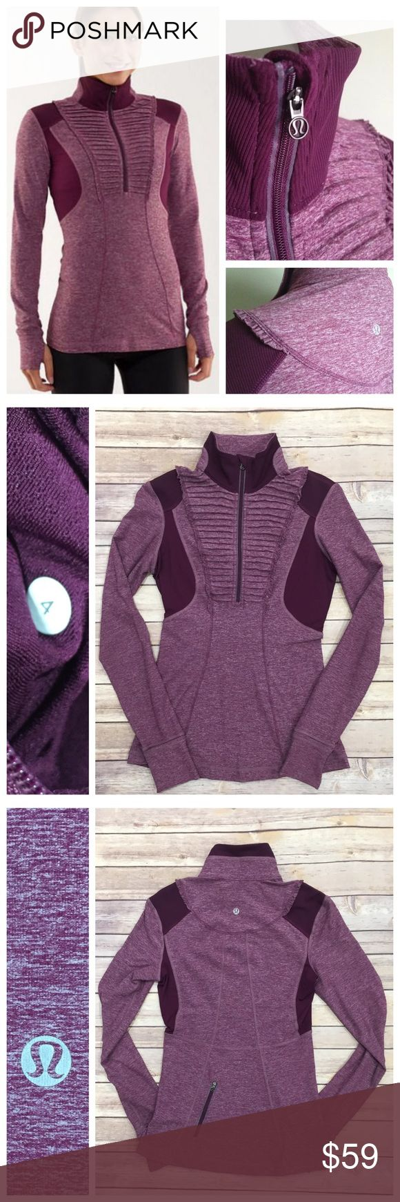 Lululemon Run Your Heart Out Heathered Plum. Excellent preloved condition. Body skimming mid-layer. Rulu and Circle mesh fabrication. Cuffins and Thumbholes. No trades. No PayPal. Price firm unless bundled. lululemon athletica Tops Tees - Long Sleeve