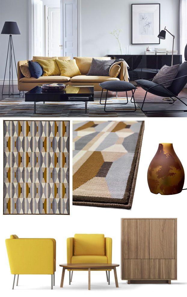 Jaśniejsze, cieplejsze odcienie żółtego szlachetnie prezentują się wwyrafinowanych wnętrzach, wktórych dominują ciemne, wpadające wczerń brązy, szarości iczerń. Fotel zpodnóżkiem VILLSTAD, stolik kawowy TOFTERYD, podstawa lampy podłogowej ÅSTORP zabażurem OLLSTA ilampa NYFORS. Wbursztynowych kolorach: sofa SÖDERHMN (wtkaninie SAMSTA), dywan zkrótkim włosiem VIDSTRUP, szklana lampa stołowa KOPPAR, fotele EKERÖ (nazdjęciu, nadole, obok fornirowanych orzechem szafki istolika…