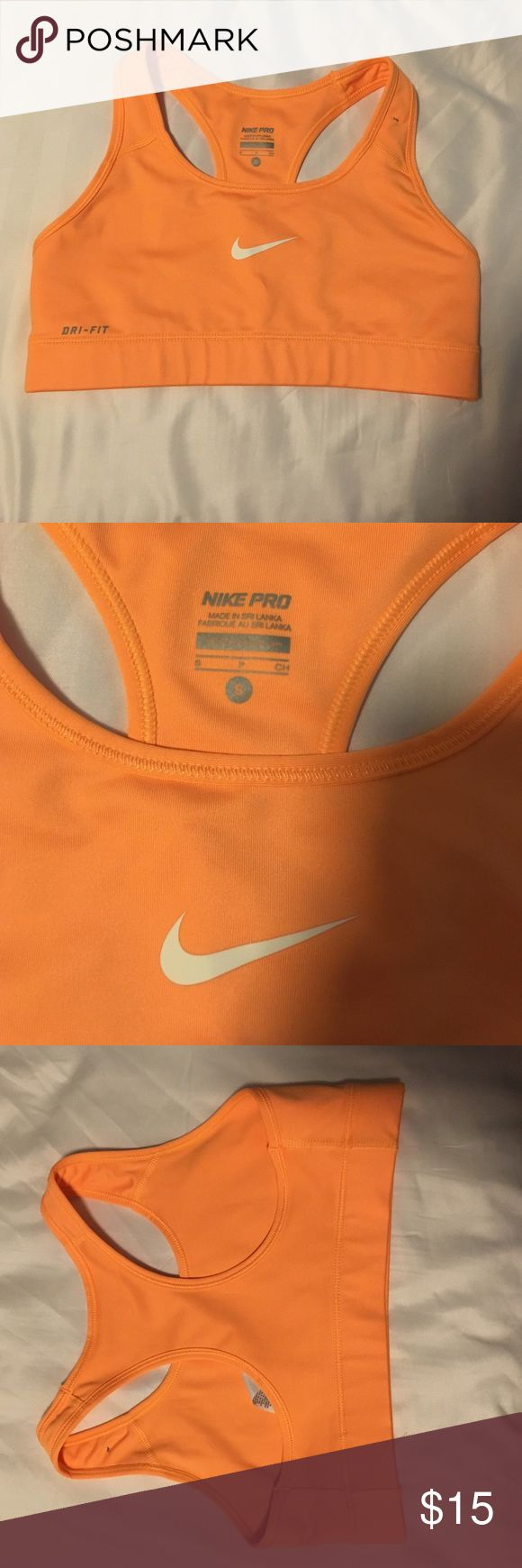 Nike pro bright orange sports bra size small Like new condition only tried on once. Size small. Nike Other