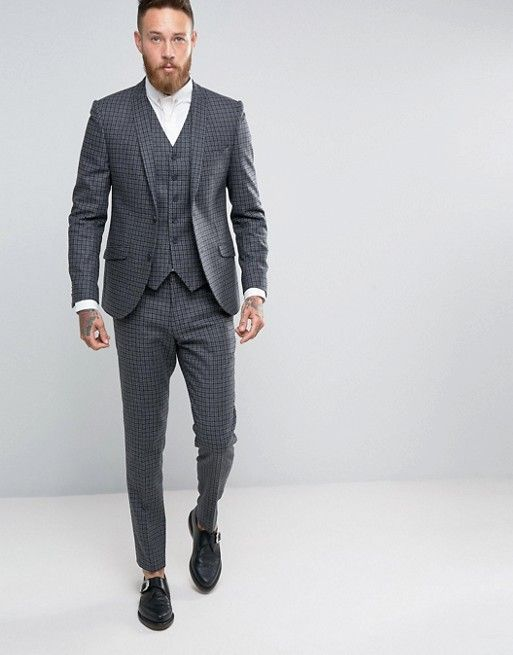 Heart & Dagger Skinny Grey Suit In Check