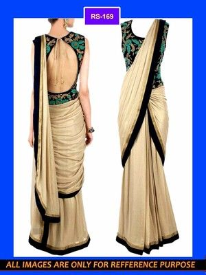 Simple gold sari with a waist level blouse