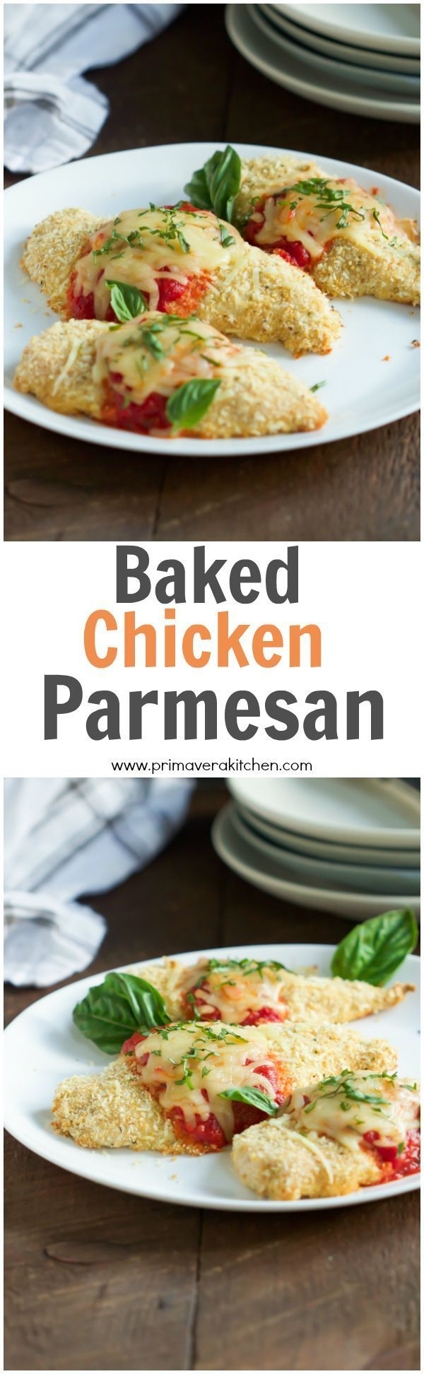 Baked Chicken Parmesan - This Baked Chicken Parmesan is light version of the traditional Italian recipes, because it��s made in the oven instead of frying. It��s also ultra-easy during your busy weeknight.