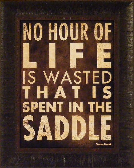 Amazon.com - No Hour by Stephanie Marrott 17x21 Cowboy Western Saddle Horses Winston Churchill Quote Framed Art Print Wall Décor Picture