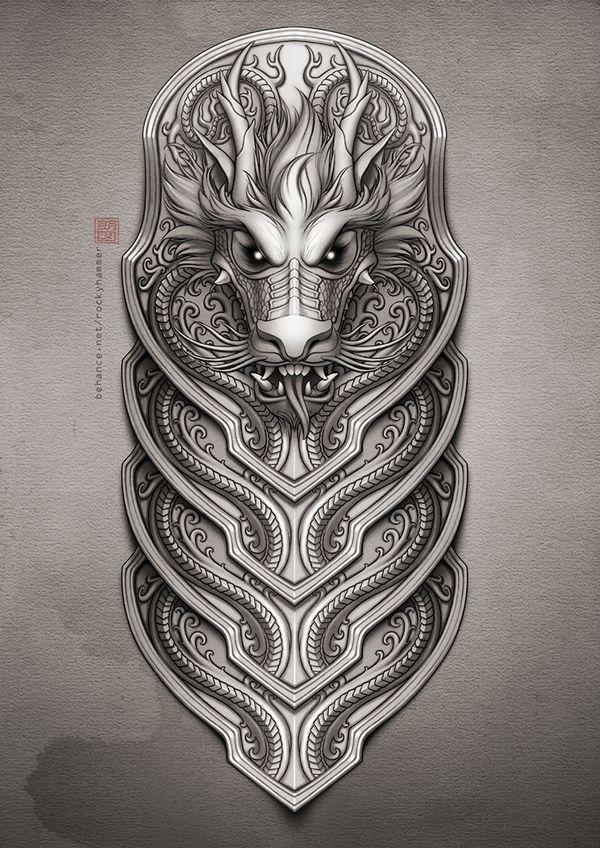 Half-sleeve dragon tattoo by Rocky Hammer, via Behance #dragon #tattoos #tattoo