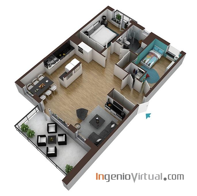 ingeniovirtual.com - Infografía de corte en perspectiva para valorar distribución en pisos de promoción inmobiliaria.