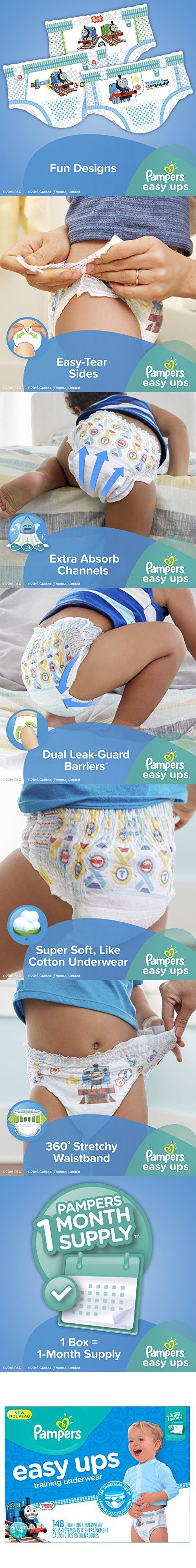 Pampers Easy Ups Training Underwear Boys Size 3T-4T (Size 5), 148 Count (One Month Supply)