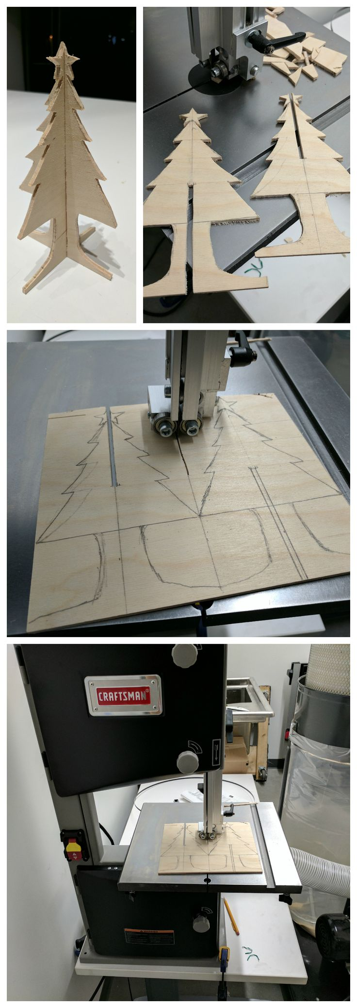 Interlocking desktop Christmas tree - easy practice project for the bandsaw. Draw & cut! Made by David