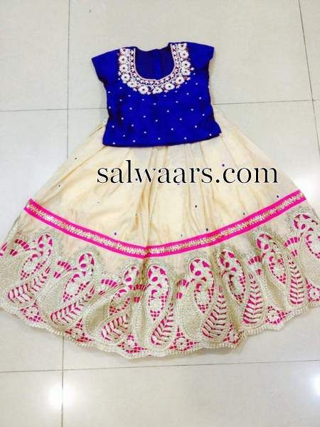 Off White Lehenga Blue Blouse - Indian Dresses