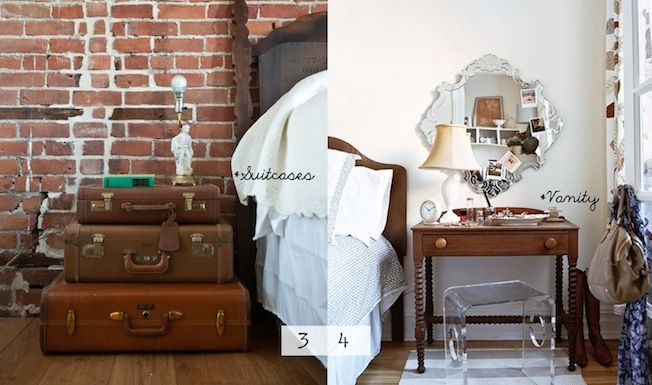 Unique Nightstands..if only I could find suitcases like those...on a mission!!!