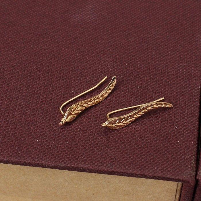 1 Pair 2016 New Fashion Women Ear Sweep Wrap Silver/Gold Lady Ear Climber Leafs Ear Cuffs Earrings