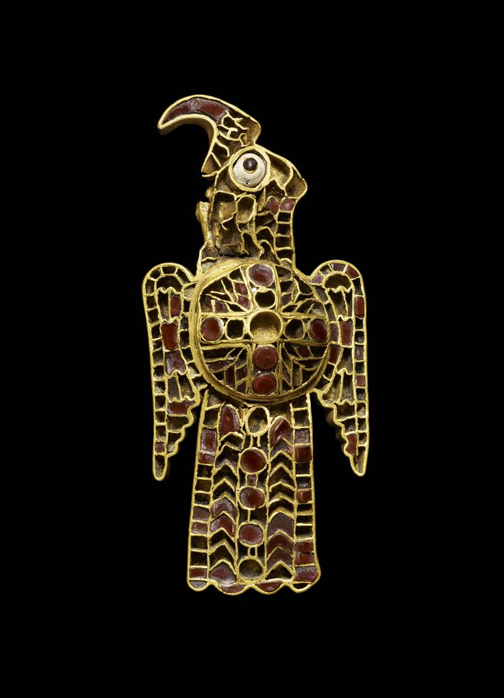 Ostrogothic Gold and Garnet Cloisonné Orinthomorphic Fibula, from the Domagnano Treasure. Gold and garnet, 5th Century C.E., Danube river region of Europe
