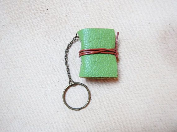 Miniature leather journal keychain notebook gift by LindeDesigns