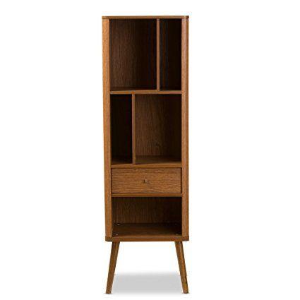 Amazon.com: Baxton Furniture Studios Ellingham Mid-Century Retro Modern Cabinet Bookcase Organizer: Kitchen & Dining