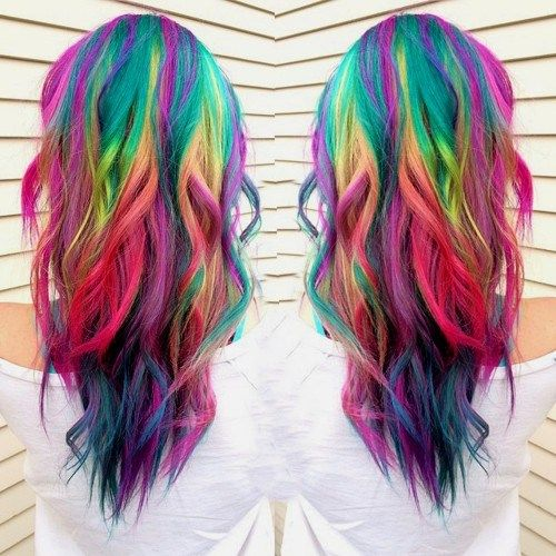 long layered rainbow hair http://www.behindthechair.com/displayarticle.aspx?ID=5149 Red Cherry Blue Orange Purple Green Pink Bright Hair Colour Color Coloured Colored Fire Style