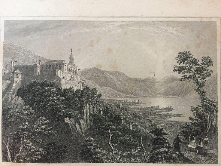 Annons på Tradera: Madonna del Sasso Antik Etsning Topografisk Plansch 1840 Das kleine Universum