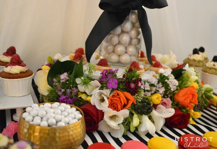 STRIPES AND FLORAL DESSERT TABLE #stripes #floral #party #anniversary #ohitsperfect #candy-table #lolly-buffet