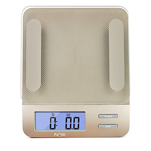 Famili FM207 Accurate Digital Kitchen Food Weighing Scale Measuring Gram Diet Scale with Tempered Glass, 11lb/5kg Weight Capacity, Champagne Gold