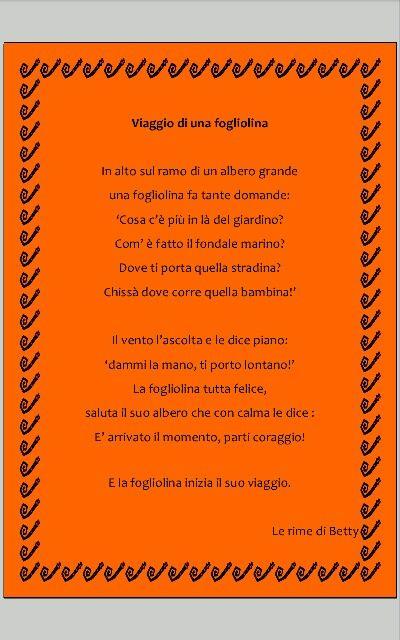 Foglie d'autunno in rima ... per bambini della scuola dall'infanzia :)