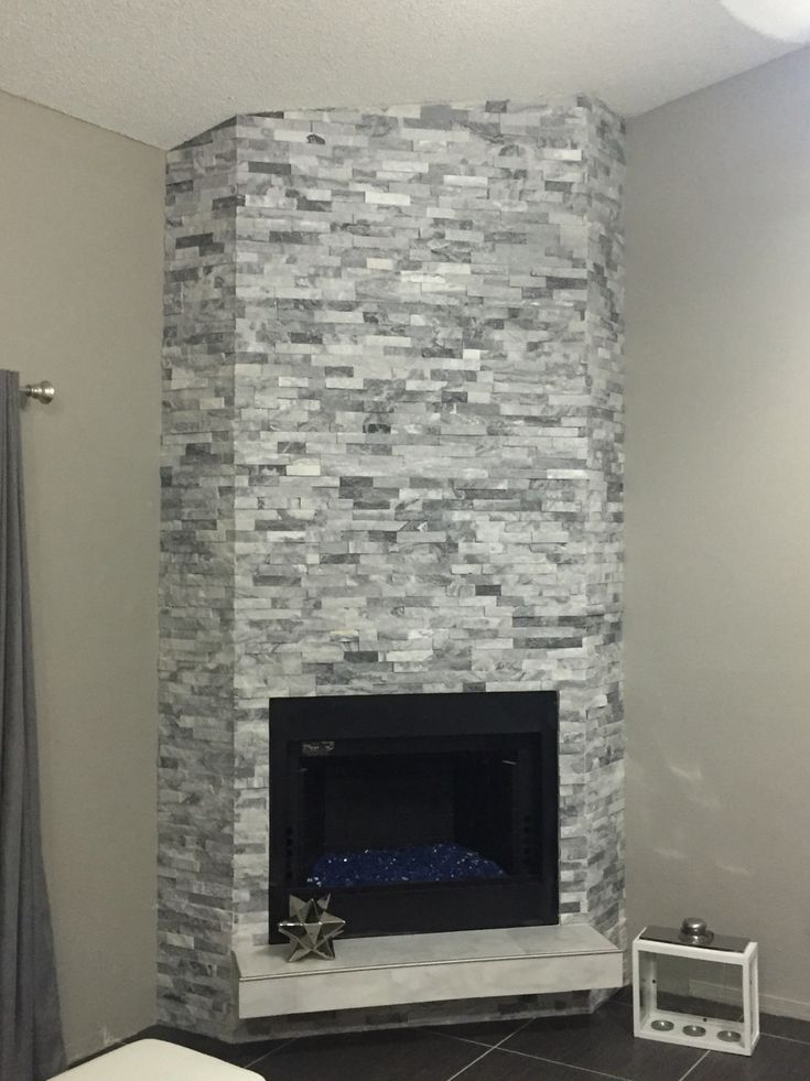 5 Alaska Gray Sledge Stone And White Marble Tiles Installed 14 Cobalt Blue Fireglass On A New