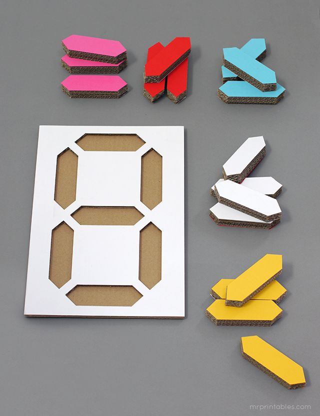 Digital Number Puzzle Templates - free printable patterns for number activities and kids wall art display. recycle cardboard boxes or use cardboard sheets and x-acto knife. Can try this with wood as well - haven't done it, but should work if you build a tray for it. http://www.mrprintables.com/digital-number-puzzle.html #DIYschool