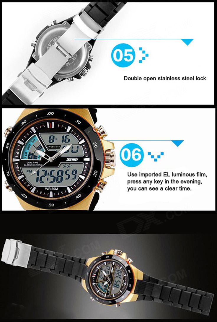 SKMEI 1016 Men's 50m Waterproof Analog + Digital Dual Mode Display Sports Watch - Black - Free Shipping - DealExtreme