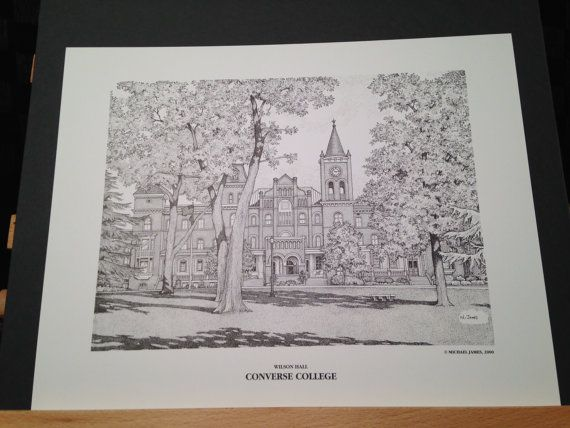 a64747407eb0a6 Converse College (SC) Campus Scenes 11x14 print of Wilson Hall by artist  Michael James using a technique called Pointillism or…
