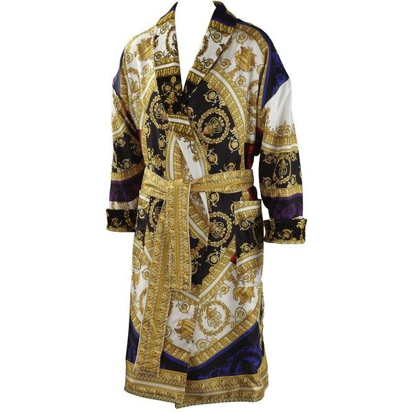 Versace Home I Love Baroque Printed Silk Bathrobe ($2,465) ❤ liked on Polyvore featuring intimates, robes, multicolor, silk bathrobe, bath robes, versace bathrobe, silk dressing gown and dressing gown