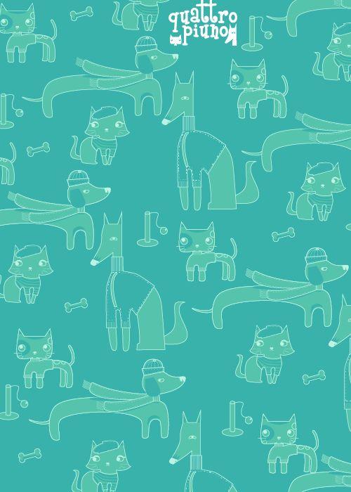 Wallpaper #quattropiuno verde mare #adorable #cats&dogs