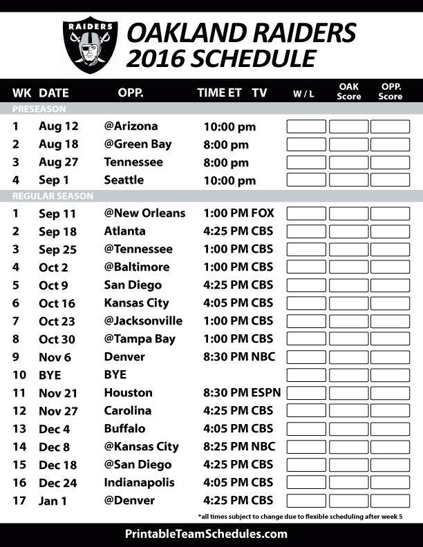 Oakland Raiders Football Schedule. Print Schedule Here - http://printableteamschedules.com/NFL/oaklandraidersschedule.php