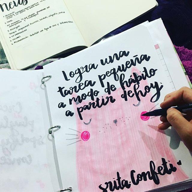 Vengo regresando de dar el taller de Caligrafía Y Bullet Journal, y compartirles los secretos de la organización (y caligrafía 😉)me llena de energía para regresar a casa y seguir trabajando 🙌🏻 ✨. El #retomágico de hoy tiene que ver con crear hábitos. Elige una tarea que creas que necesitas para lograr las pequeñas cosas. Hazla todos los días durante 21 días y verás cambios 💜😱
