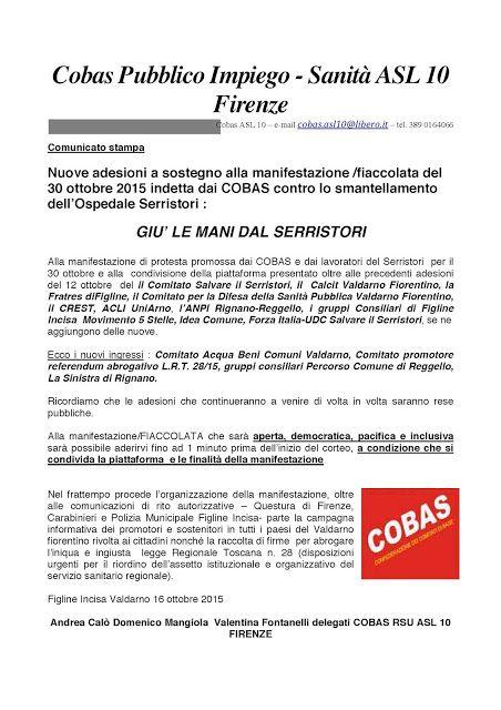 COBAS Careggi: Firenze: Fiaccolata contro lo smantellamento dell'...