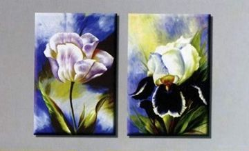 Two Flowers Hand-painted 2-piece Abstract Modern Stretched Oil P