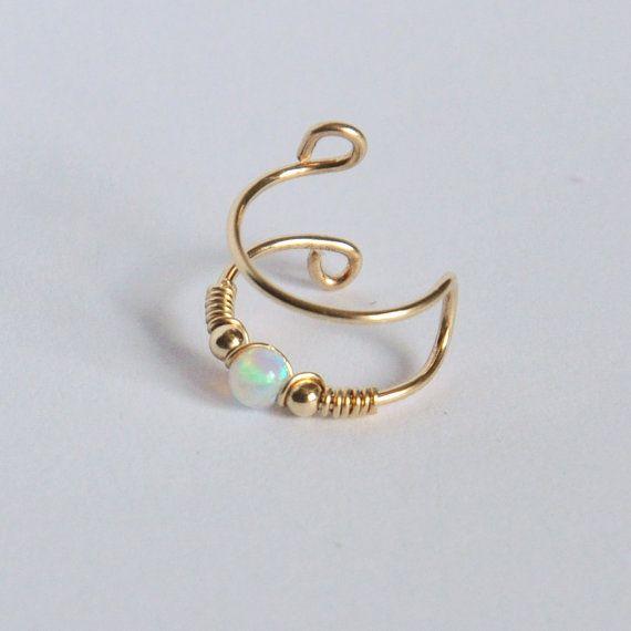 DOUBLE WRAP CUFF White Opal Ear Cuff Ear Cuff Fake by Benittamoko