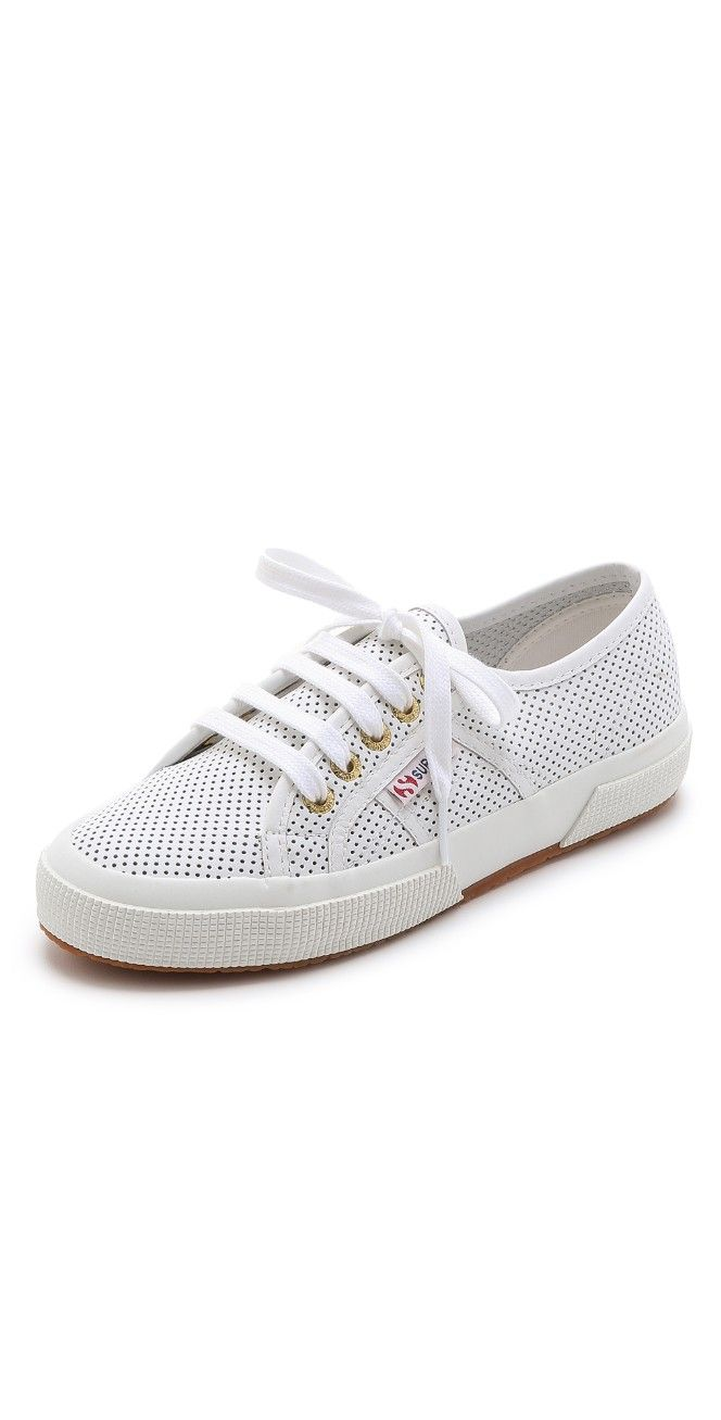 Perforated Leather Sneakers. SupergaLeather SneakersZapatos